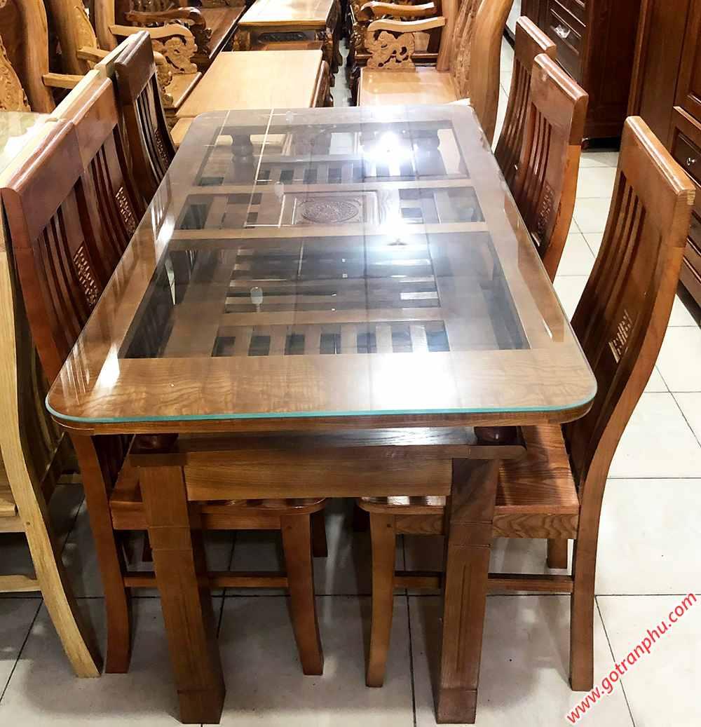 Bàn ăn gỗ Sồi Nga 2 tầng 6 ghế màu nâu BA049 (1)