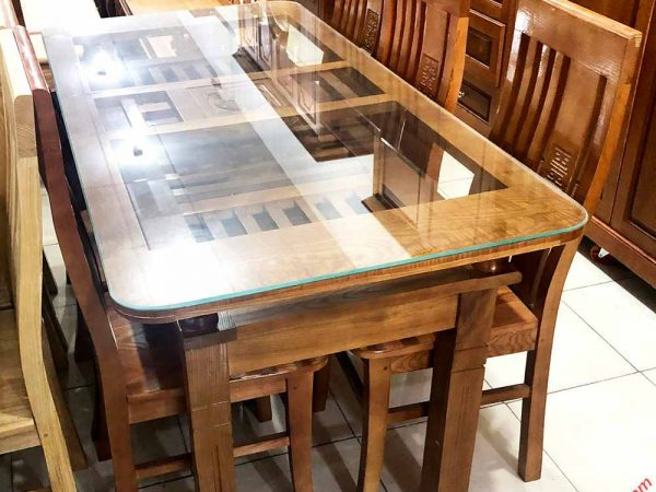 Bàn ăn gỗ sồi Nga 2 tầng 6 ghế màu nâu BA049 (2)