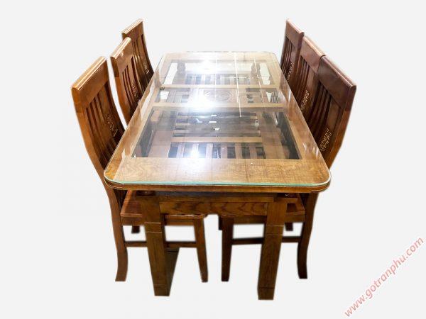 Bàn ăn gỗ sồi Nga 2 tầng 6 ghế màu nâu BA049 (5)