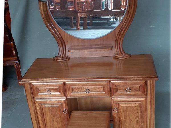 Bàn phấn trang điểm gỗ hương xám ngang 1m gương tròn BT092