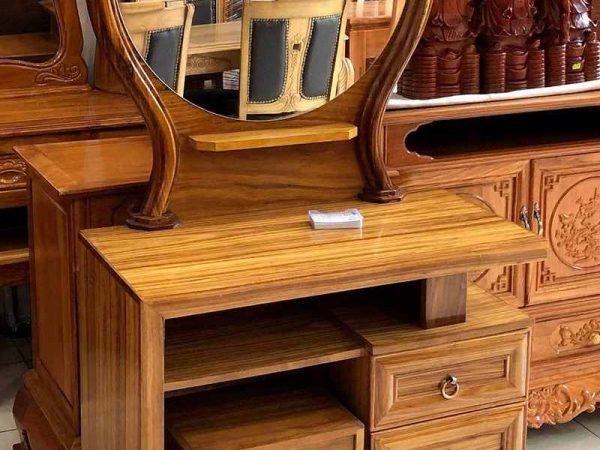 Bàn trang điểm gỗ hương xám gương tròn BT089 (3)
