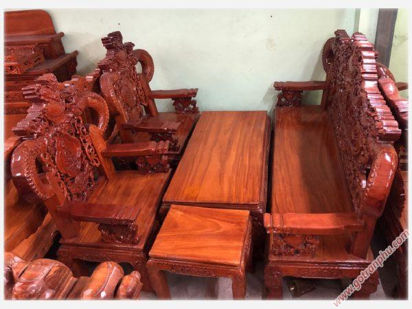 Bộ Salon gỗ gõ đỏ Lào chạm rồng tay khuỳnh SA015