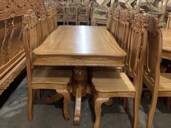 Bộ bàn ăn gỗ gõ đỏ hình chữ nhật 8 ghế BA060 gỗ tự nhiên