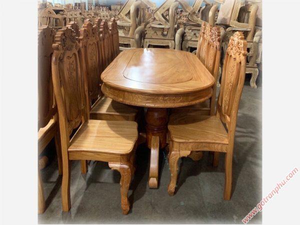 Bộ bàn ăn gỗ gõ đỏ hình bầu dục 8 ghế BA061 gỗ tự nhiên 100%