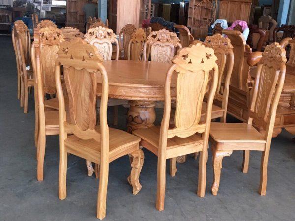 Bộ bàn ăn gỗ gõ đỏ hình tròn 8 ghế BA062 gỗ tự nhiên 100%