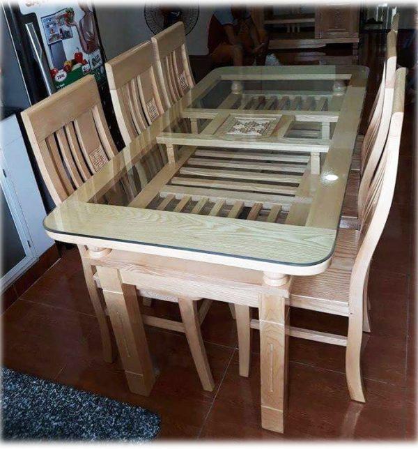 Bộ bàn ăn gỗ sồi Nga 2 tầng 6 ghế BA050 160cm x 80cm