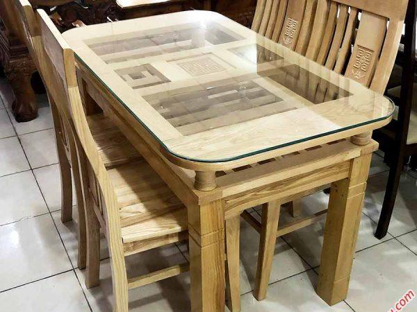 Bộ bàn ăn gỗ sồi Nga 4 ghế 1m2 gỗ tự nhiên BA057 (3)