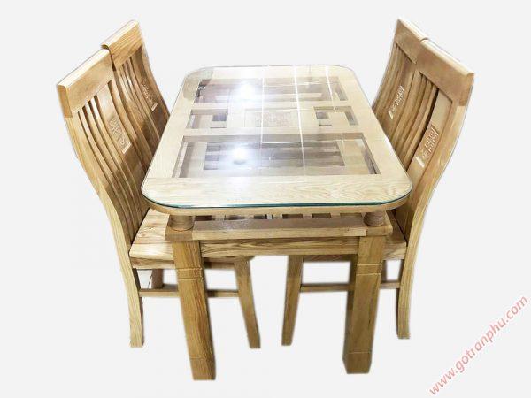 Bộ bàn ăn gỗ sồi Nga 4 ghế 1m2 gỗ tự nhiên BA057 (4)