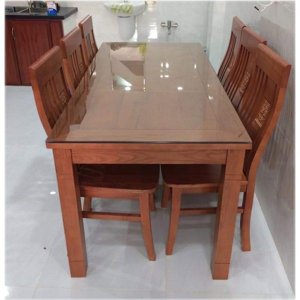 Bộ bàn ăn mặt liền gỗ sồi phủ xoan 6 ghế BA054 (160cm x 80cm)