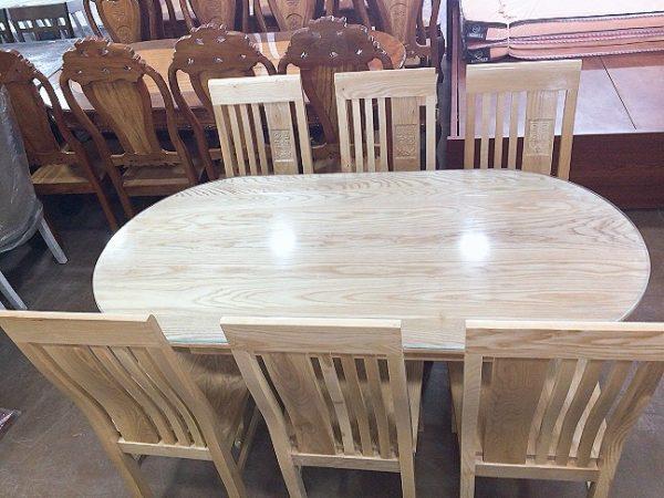 Bộ bàn ăn oval gỗ sồi nga 6 ghế 1m6 BA052 (160cm x 80cm)