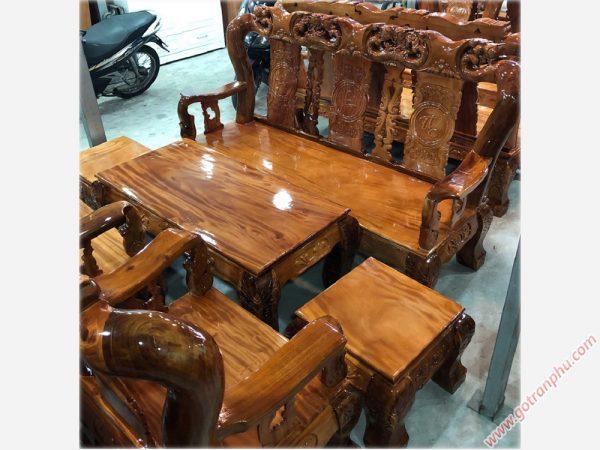 Bộ salon tay 12 gỗ xoan đào mặt gỗ gõ đỏ chạm đào SA007
