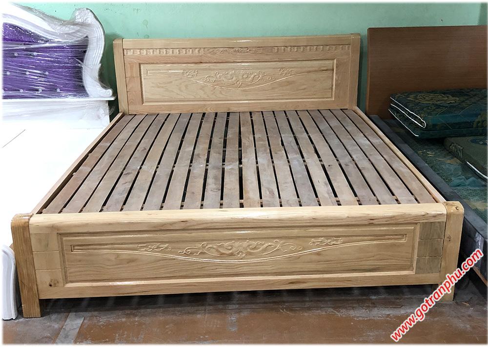 Giường gỗ sồi Nga (1m6 - 1m8 x 2m) dát thanh gỗ tự nhiên
