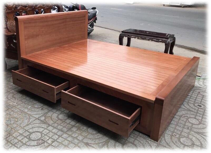 Giường gỗ xoan đào hộc kéo dát phản GI019 (1m6 x 2m) gỗ tự nhiên