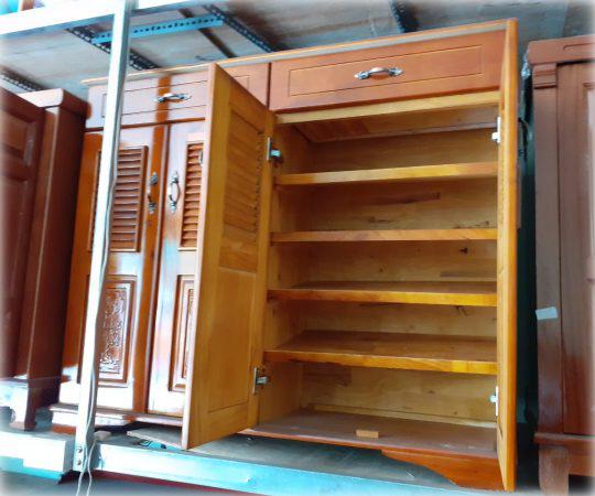 Tủ đựng giày dép gỗ cao su 4 cánh 2 ngăn kéo - gỗ tự nhiên, cửa hàng TP.HCM