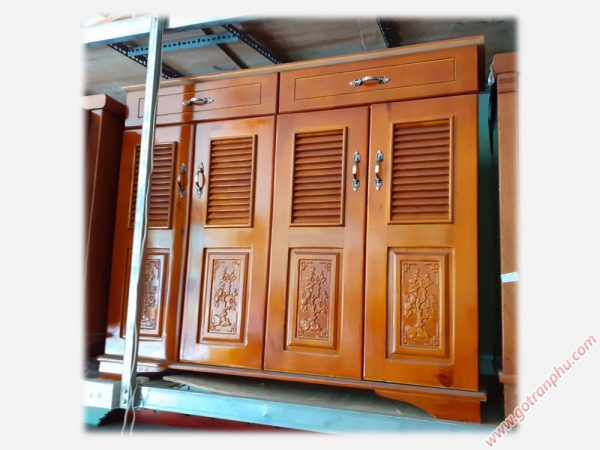 Tủ giày dép gỗ cao su 4 cánh 2 ngăn kéo 1m TD085