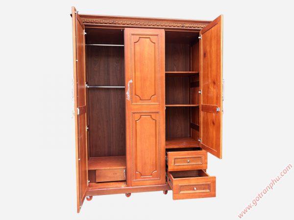 Tủ quần áo gỗ còng 3 cánh TA114 (1m6 x 2m1)