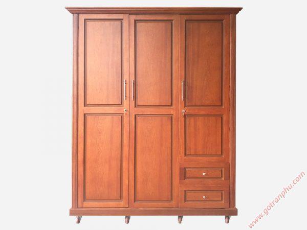 Tủ quần áo gỗ căm xe 3 cánh Trơn TA039 (1m6 x 2m1)