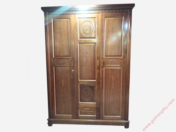 Tủ quần áo gỗ xoan đào 3 cánh TA041 (1m6 x 2m1)