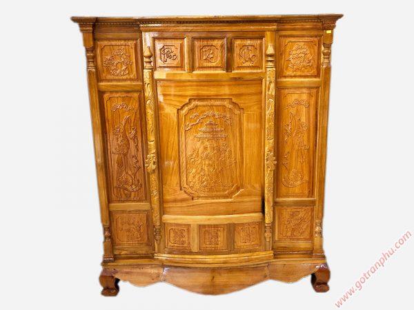 Tủ thờ gỗ căm gõ 4 chân chạm Phúc Lộc Thọ TT078 (5)
