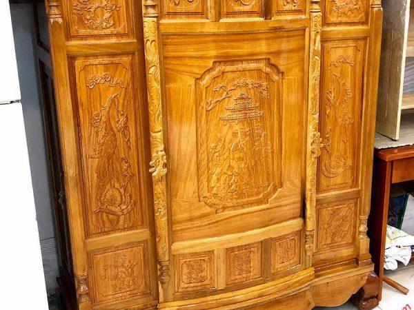 Tủ thờ gỗ căm gõ 4 chân chạm Phúc Lộc Thọ TT078 (7)