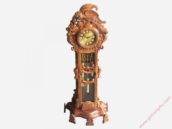Đồng hồ đứng gỗ hương chạm đại bàng DH002