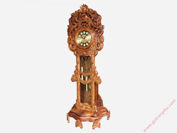 Đồng hồ đứng gỗ hương chạm rồng 2m7 DH001