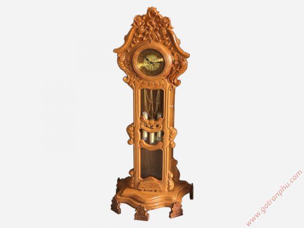Đồng hồ cây gỗ gõ đỏ chạm hoa lá 1m75 DH004