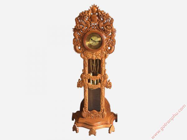 Đồng hồ cây gỗ gõ đỏ chạm rồng 1m8 DH003