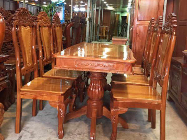 Bàn ăn gỗ căm gõ 6 ghế hình bánh tây BA123
