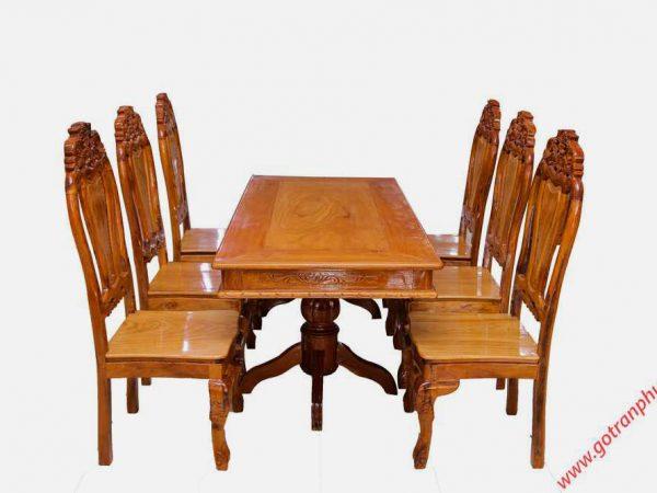 Bộ bàn ăn gỗ căm gõ 6 ghế hình bánh tây BA123