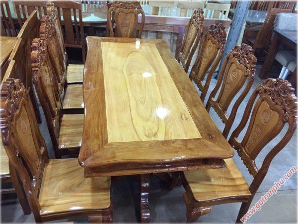 Bộ bàn ăn gỗ căm gõ 8 ghế hình bánh tây BA122