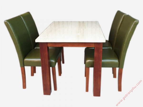 Bộ bàn ghế ăn gỗ cao su 4 ghế BA003 gỗ tự nhiên