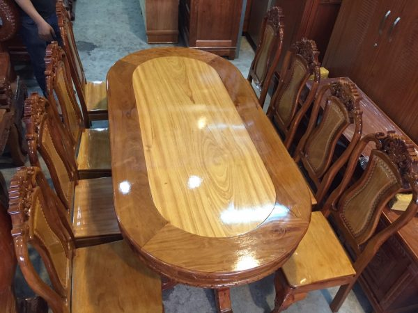 bàn ăn gỗ căm gõ hình oval BA124
