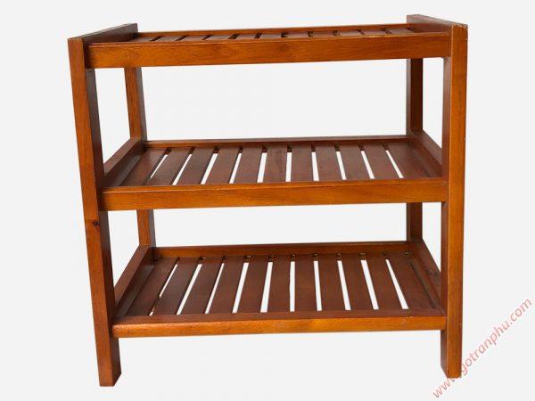 Kệ dép gỗ cao su 3 tầng màu nâu 45cm x 45cm KD001