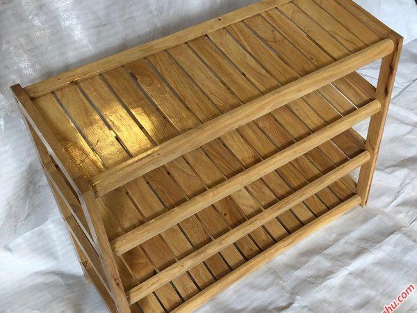 Kệ giày dép gỗ cao su 4 tầng màu gỗ tự nhiên