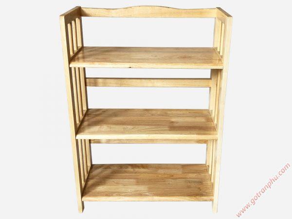Kệ sách gỗ cao su 3 tầng màu gỗ tự nhiên