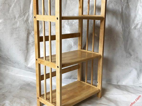 Kệ sách gỗ cao su 3 tầng màu gỗ tự nhiên ngang 50cm KS006