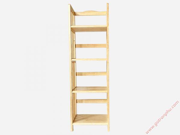 Kệ sách gỗ cao su 4 tầng màu gỗ tự nhiên 40cm KS005