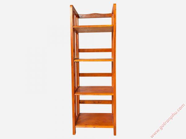 Kệ sách gỗ cao su 4 tầng màu nâu ngang 40cm KS004