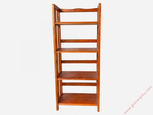 Kệ sách gỗ cao su 4 tầng màu nâu ngang 50cm KS007
