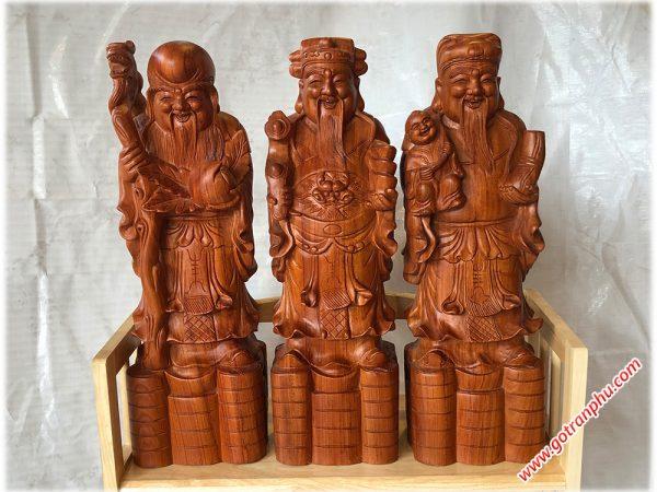 Tượng tam đa Phúc Lộc Thọ gỗ hương đá cao 60cm TG002