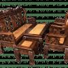 Salon tay 10 gỗ xoan đào, mặt gỗ gõ đỏ chạm nghê