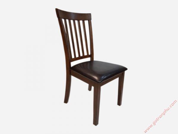 Ghế bàn ăn gỗ cao su nhập khẩu cao cấp (bọc da) GH007 (2)