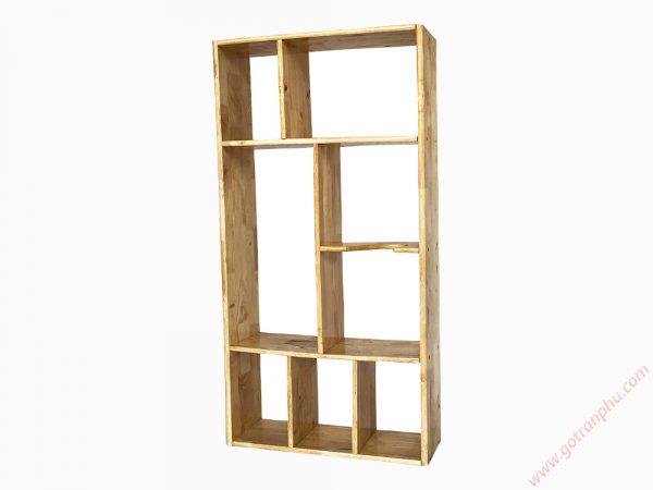 Kệ sách treo tường gỗ cao su màu gỗ tự nhiên 1m2 KS013 (8)