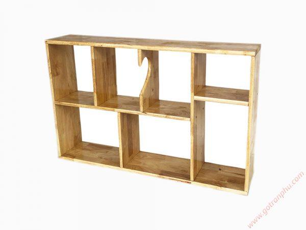 Kệ sách treo tường gỗ cao su màu gỗ tự nhiên 80cm KS015 (9)