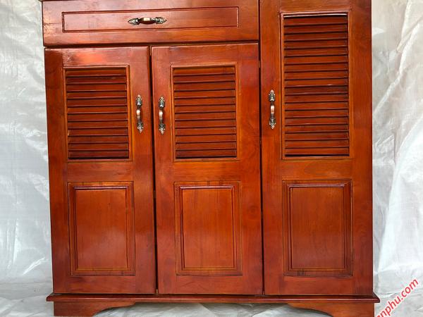 Tủ giày dép gỗ cao su 3 cánh 1 ngăn kéo 1m TD001 (3)