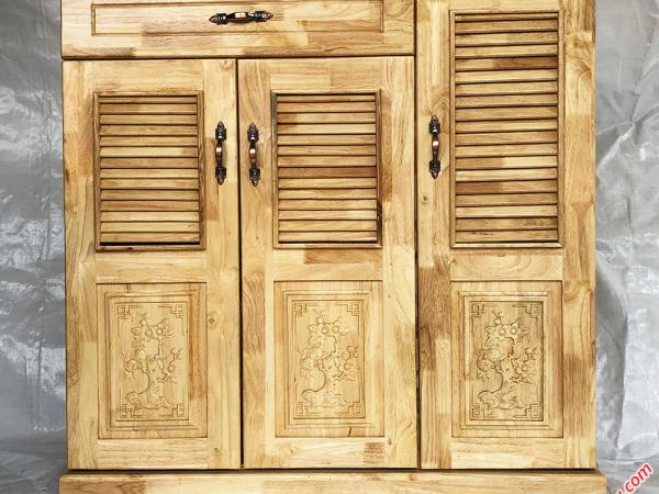 Tủ giày dép gỗ cao su 3 cánh 1 ngăn kéo màu gỗ tự nhiên TD004 (8)