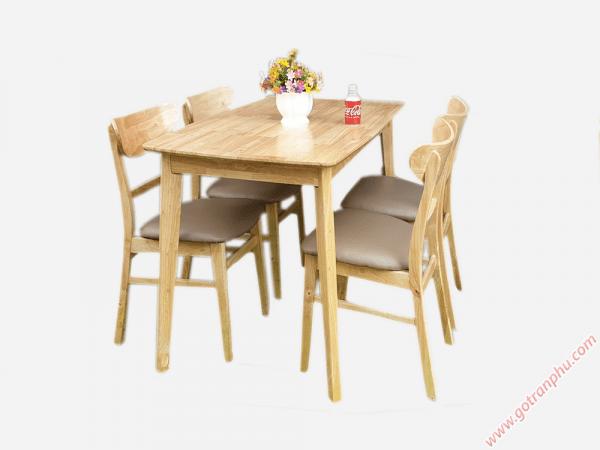 Bộ bàn ghế ăn gỗ cao su 4 ghế cao cấp BA007 (1)