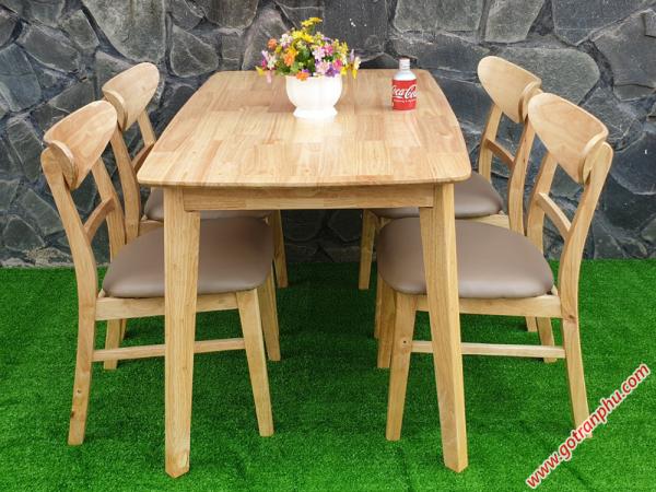 Bộ bàn ghế ăn gỗ cao su 4 ghế cao cấp BA007 (3)