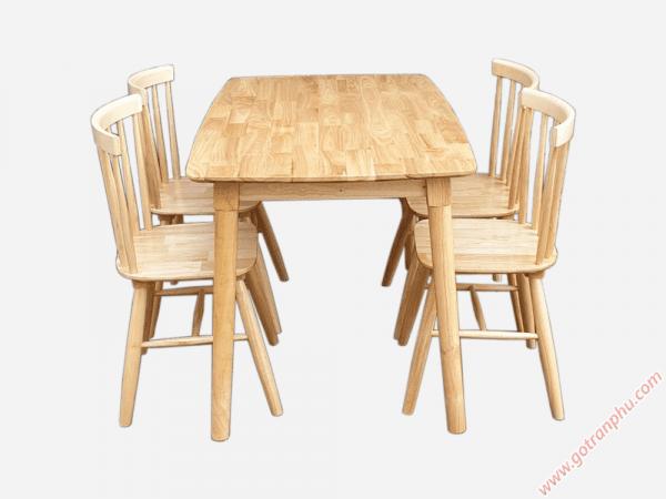 Bộ bàn ghế ăn gỗ cao su 4 ghế cao cấp BA008 (6)